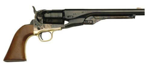 "Traditions Black Powder 1860 Colt Army Revolver .44 Caliber Steel Frame Brass Guard 8""rd Barrel Blue Finish Walnut Grip"