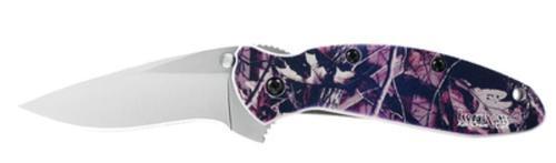 "Kershaw Scallion 2.25"" Stainless Steel Drop Point Plain Anodized Aluminum Camo Handle Folder"
