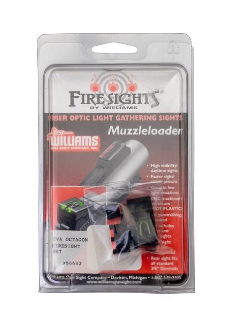 Williams FireSights CVA Octagonal, Fiber Optic Front/Rear, Green Rear/Orange Front, Aluminum, Black Finish