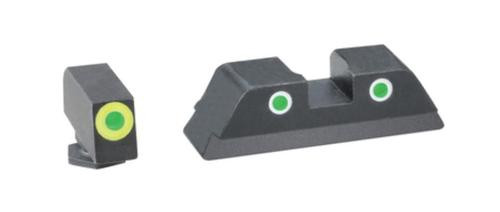 Ameriglo Tritium Front/Rear Combo Sights Green Dot White Outline Rear and Green Dot LumiLime Outline Front For Glock 42