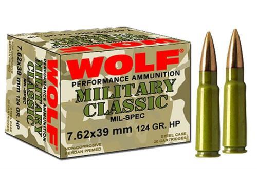 Wolf Ammunition 7.62x39 124gr, FMJ, Bi-Metal 1000rd/Case