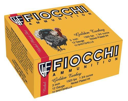 "Fiocchi Turkey Nickel Plated 12 Ga, 3"", 1-3/4oz, 4 Shot, 10rd/Box"