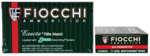 Fiocchi Exacta Rifle Match .223 Rem 77gr, Sierra Match King, 20rd Box