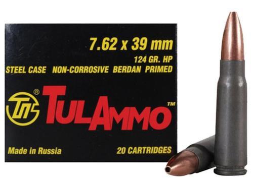 TulAmmo 7.62X39 124gr, HP, Steel Case, Non-Corrosive, 20rd Box