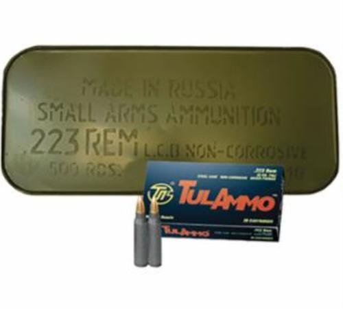 TulAmmo 223 55gr, Steel Cased, Berdan Primed, Non-Corrosive, 500rd/Case