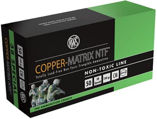 Ruag Ammotec 203840050 Copper Matrix 38 Special 100GR Non Toxic/Frangible 50Rrds