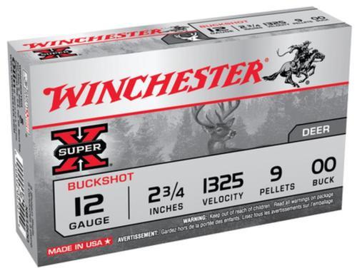 """Winchester Super-X Buckshot Buffered 12 Ga, 2.75"""", 1325 FPS, 9 Pellets, 00 Buck, Value Pack, 15rd/Box"""