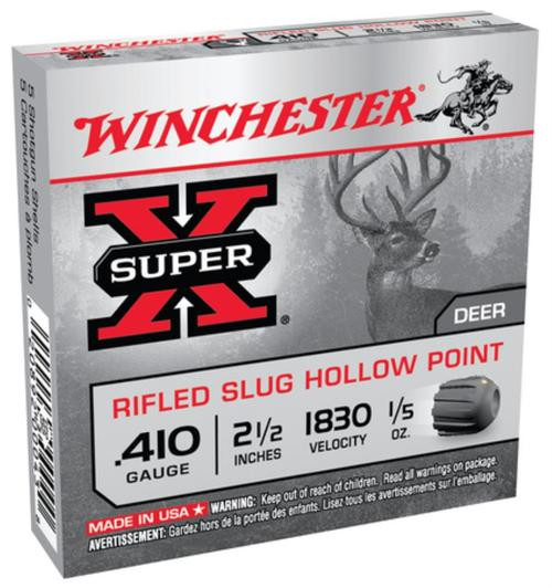 "Winchester Super-X Value Pack .410 Ga, 2.5"", 1830 FPS, .2oz, Rifled Slug, Hollow Point, 15rd/Box"