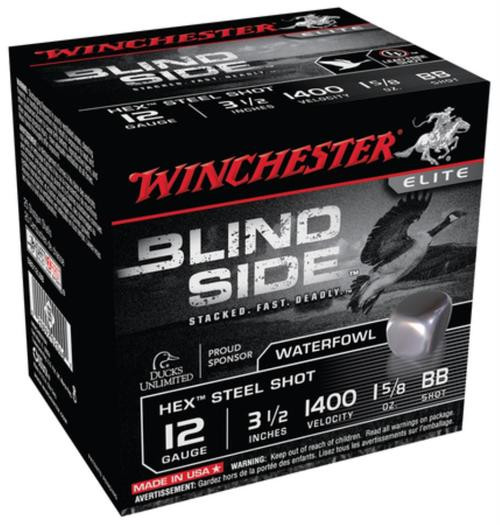 "Winchester Blind Side Steel Hex Magnum Waterfowl 12 Ga, 3.5"", 1400 FPS, 1.625oz, BB, 25rd/Box"