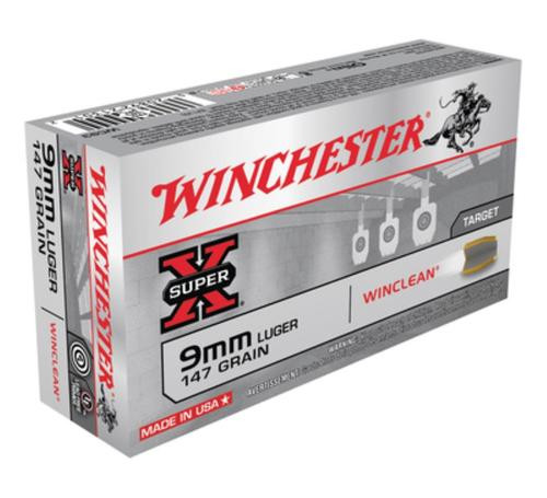 Winchester 9mm 147gr, Brass Enclosed Base, Wad-Cutter Lead Nose, 50rd Box
