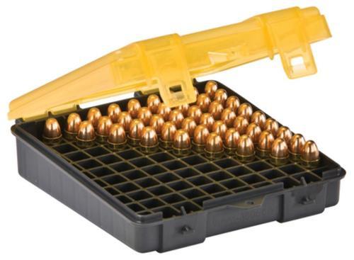 Plano Molding Flip Top Handgun Ammo Case 100rd 9mm/.380 Gray/Amber