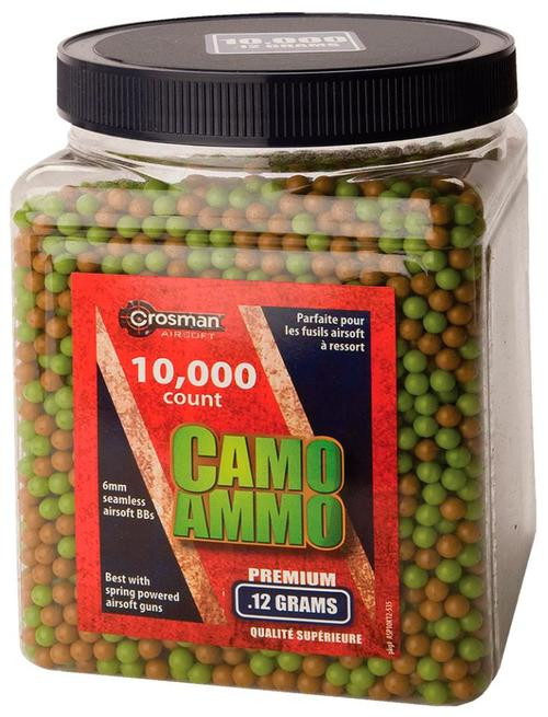 Crosman Camo Ammo BBs .12gr, 6mm Plastic Airsoft 10000ct