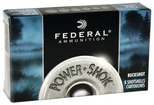 "Federal F127000 Power Shok Buckshot 12 ga 2.75"" 8 Pellets 000 Buck Shot 5Bx/50Cs"