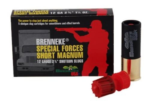"Brenneke Special Forces Short Magnum 12 Ga, 2 3/4"", 1 1/4oz Slug, 1418 FPS, 5rd/Box"
