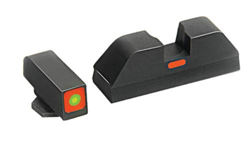 AmeriGlo CAP Tritium Sight Set Glock 20/21/29 Green Front With Orange Square Outline Orange Rear Horizontal Line