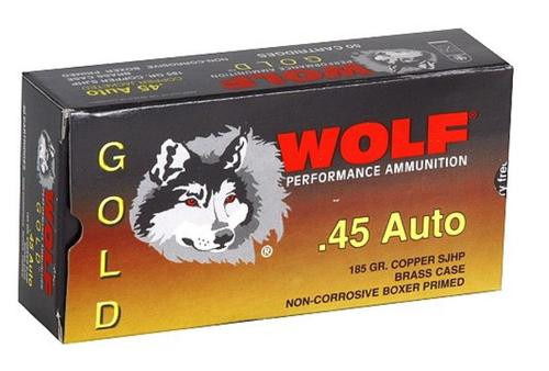 Wolf Gold 45 ACP Semi-Jacketed Hollow Point 185gr, 50Box