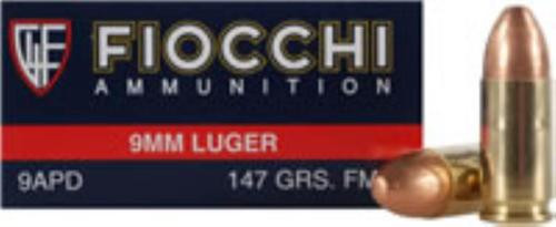 Fiocchi 9mm 147gr, FMJ 50rd Box
