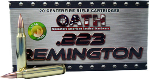Oath Match Grade .223 Rem, 65 Gr, Copper FMJ, Lead Free, 20rd/Box