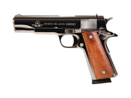"Rock Island Armory 1911-A1 GI Standard 45 ACP 5"" Polished Nickel Standard Sights 8 Round"