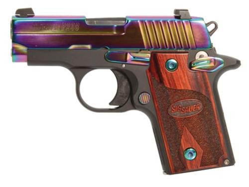 Sig P238 380 ACP 2.7In Rainbow Titanium Finish SAO Rosewood Grip (1) 6RD Steel MAG