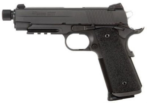 SIG 1911 45 ACP 4.9In TAC OPS BLK SAO Siglite Ergo XT Grip (4) 8RD Steel MAG Rail Threaded (.578X28 RH)