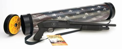 "Mossberg Just In Case M500 Patriot 12 Ga 18.5"" Barrel 3"" Chamber NRA Logo Engraving on Receiver Full Color U.S.Flag/2nd Amendment Graphics on Tube 5rd"