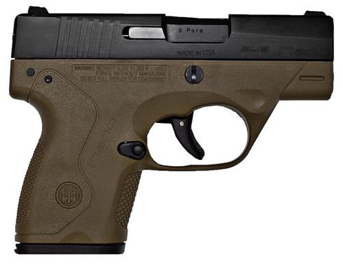 Beretta BU9 Nano 9mm 3.07, /8+1 Flat Dark Earth Poly Grip/Frame Black,  6 rd
