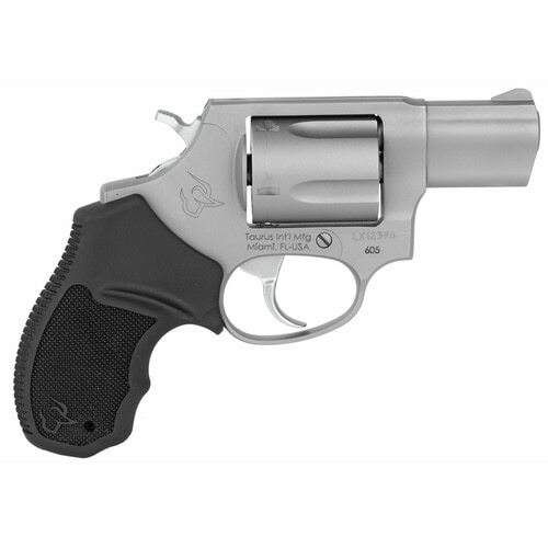 "Taurus 605 Standard 357 Magnum 2"" Barrel Black Rubber Stainless Steel Finish, 5rd"