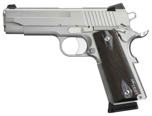"Sig 1911 45 ACP, 5"" Barrel, Stainless Stainless Finish SAO Siglite Blackwood Grip (2) 8RD Steel MAG CA Compliant"