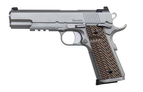 """Dan Wesson, SPECIALIST, 1911 Full Size Pistol, 9mm, 5"""" Barrel, Steel Frame, Stainless Finish, G10 Grips, Fixed Night Sights, Ambidextrous Safety, 10Rd"""