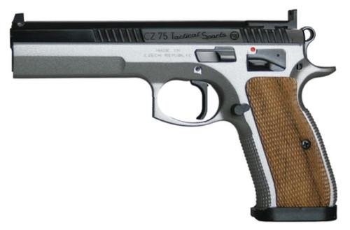 "CZ Tactical Sport Pistol 9MM 5.23"" Barrel, Nickel Frame & Blue Slide 20RD Mag"