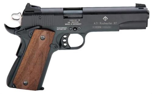"American Tactical, M1911, Full Size, 22 LR, 5"" Barrel, Blued, Wood Grips, 10Rd"