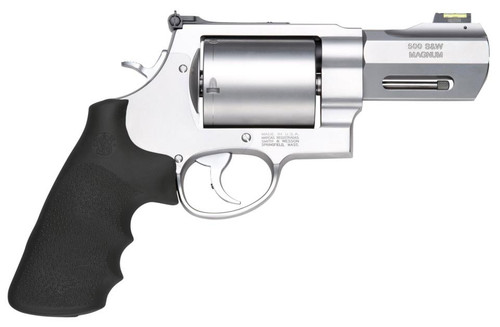 "Smith & Wesson 500 Performance Center 500 SW Magnum 3.5"" Custom Barrel, SS Finish, Rubber Grips, Fiber Optic Front Sight, 5Rd, Unfluted Cylinder"