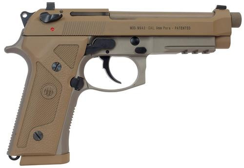"Beretta M9A3, Semi-Automatic Pistol, Full Size, 9mm, 4.9"" Threaded Barrel, Alloy Frame, Flat Dark Earth Finish, Vertec-Style Thin Grip, 3-Slot Picatinny Rail, Decocker, Tritium Night Sights, 2 Magazines, 17 Rounds"
