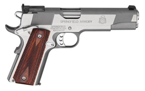 "Springfield 1911 Service Target Pistol 45 ACP, 5"", Cocobolo Wood Grip, Stainless Finish, 7 Rd"