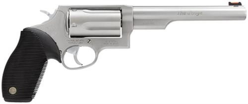 "Taurus Judge Single/Double 45 Colt/410ga, 6.5"", Black Ribber Grip, Stainless, 5rd"