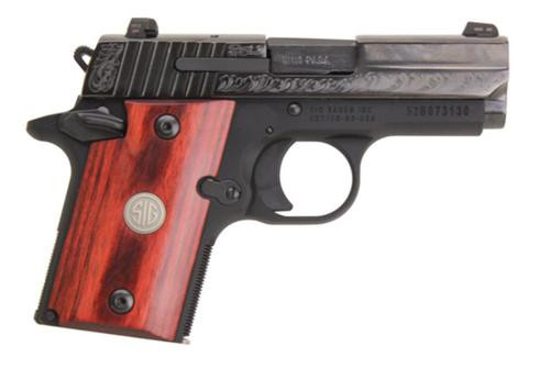Sig P938 9MM 3IN Engraved Nitron Engraved Slide SAO Siglite Rosewood Medallion Grip (1) 6RD Steel MAG Ambi Safety