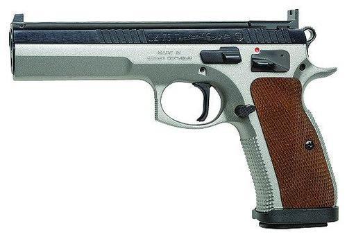 "CZ 75 Tactical Sport SAO 40 S&W 5.4"" Barrel, Wood Grip SS Frame Black Slide, 12rd"