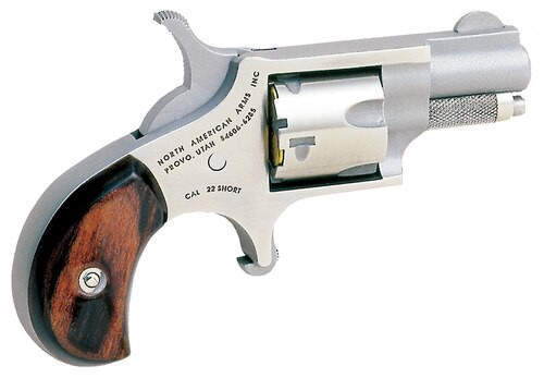 "NAA 22 Short Mini-Revolver 1.12"" Barrel 5rd Rosewood Grip SS"