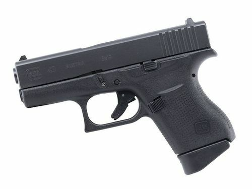 """Glock, 43, Semi-automatic Pistol, Double Action Only, Compact, 9mm, 3.25"""" Barrel, Polymer Frame, Matte Finish, 6Rd, Fired Case, Fixed Sights"""