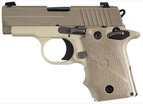 Sig P238 380 ACP 2.7In Desert 2-Tone Flat Dark Earth SAO Flat Dark Earth Rubber Grip (1) 7RD Steel MAG