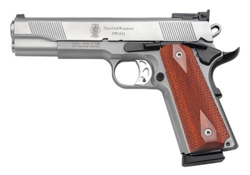 "Smith & Wesson 1911 45 ACP 5"" Barrel, Ambi Safety Wood Grip Matte SS, 8rd"