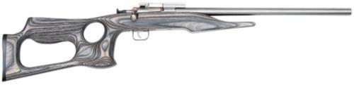 "Keystone Davey Crickett Chipmunk 22LR 16"" Bull Barrel SS Finish Barracuda Style Black Laminated Thumbhole Stock"
