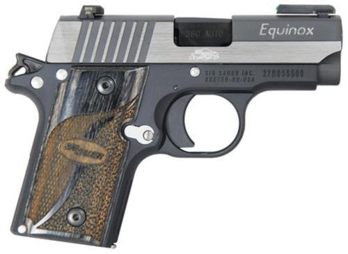 Sig P238 380 ACP 2.7In Equinox 2-Tone SAO TFO Front/Siglite Rear Blackwood Grip (1) 6RD Steel MAG MA Compliant