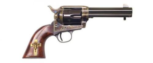 """Cimarron Holy Smoker .45 Long Colt 4.75"""" Sterling Silver Gold Plated Cross Inlaid on Right Side of Grip Blue"""