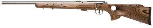 "Savage 93R17 BTVLSS, 17HMR, 21"" Heavy Barrel, Stainless Steel Barrel and Action, Brown Laminated Thumbhole Stock, Left Hand, 5Rd, Detachable Box Magazine"