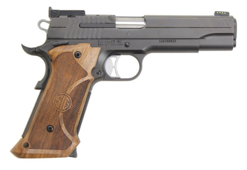 Sig 1911 Super Target 45ACP 5 Custom Wood Grip Nitron Finish Adj Sight 8 Rd