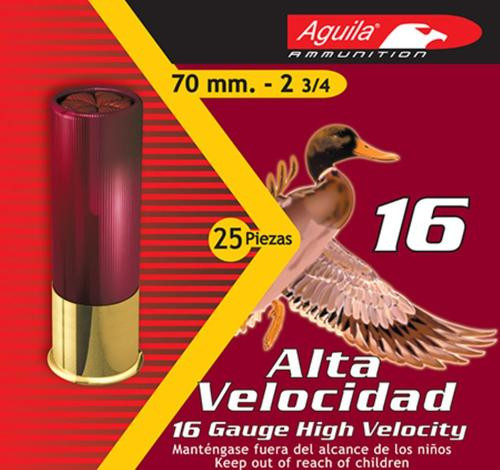 "Aguila Hunting High Velocity 16 Ga, 2.75"", 1-1/8oz, 7.5 Shot, 25rd/Box"