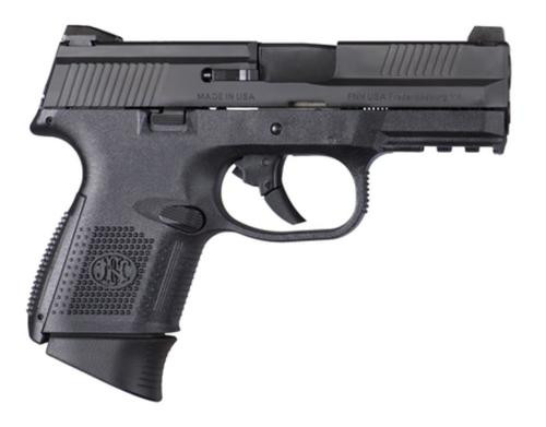 "FN FNS-9C Compact 9mm 3.6"" Barrel Black Slide Fixed 3-Dot Sights No Manual Safety 17rd"