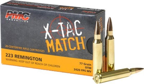 PMC Ammunition X-Tac Match Ammo.223 Rem 77gr, Sierra Open Tip Match 20rd Box